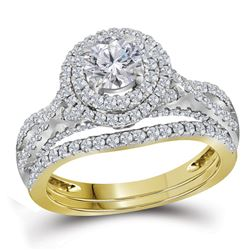 1.75 CTW Diamond Halo Bridal Engagement Ring 14KT Yellow Gold - REF-367F5N