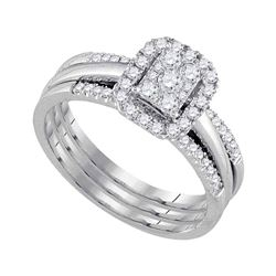 0.50 CTW Diamond Cluster Bridal Engagement Ring 10KT White Gold - REF-59W9K
