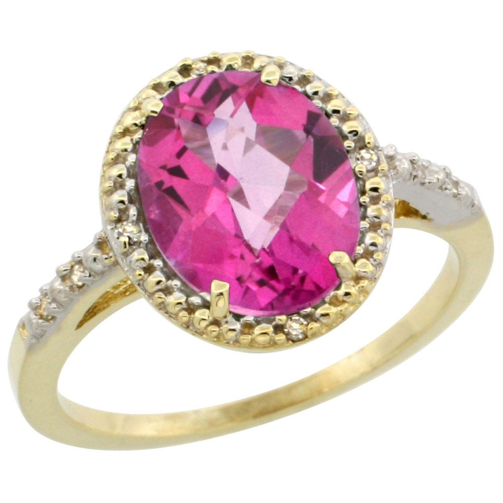 Natural 2.42 ctw Pink-topaz & Diamond Engagement Ring 10K Yellow ...
