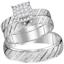 0.31 CTW His & Hers Diamond Cluster Matching Bridal Ring 14KT White Gold - REF-71N3F