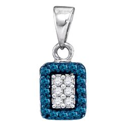 0.20 CTW Blue Color Diamond Rectangle Cluster Pendant 10KT White Gold - REF-9X7Y