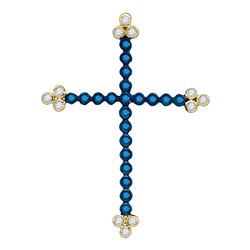 0.35 CTW Blue Color Diamond Cross Faith Pendant 10KT Yellow Gold - REF-25H4M