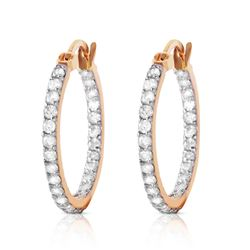Genuine 0.75 ctw Diamond Anniversary Earrings Jewelry 14KT Rose Gold - REF-137Z2N