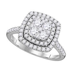 1 CTW Diamond Square Double Halo Cluster Ring 14KT White Gold - REF-97X4Y
