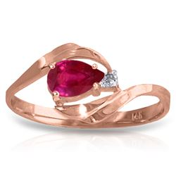 Genuine 0.51 ctw Ruby & Diamond Ring Jewelry 14KT Rose Gold - REF-28N3R