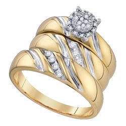 0.19 CTW Diamond His & Hers Matching Trio Bridal Engagement Ring 10KT Yellow Gold - REF-49X5Y