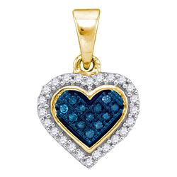 0.13 CTW Blue Color Diamond Cluster Small Heart Pendant 10KT Yellow Gold - REF-10N5F