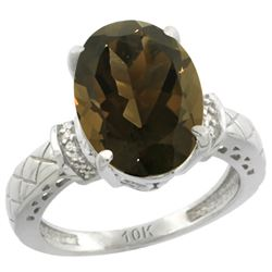 Natural 5.53 ctw Smoky-topaz & Diamond Engagement Ring 14K White Gold - REF-60H3W