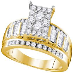 0.92 CTW Diamond Rectangle Cluster Bridal Engagement Ring 10KT Yellow Gold - REF-67W4K