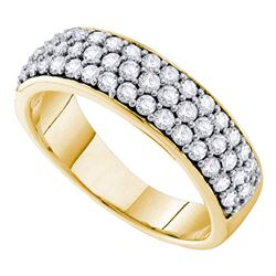 1 CTW Pave-set Diamond Triple Row Wedding Ring 10KT Yellow Gold - REF-82W4K