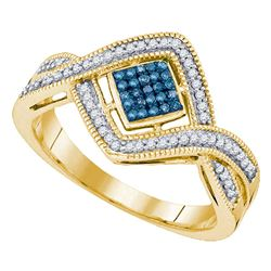0.15 CTW Blue Color Diamond Square Cluster Ring 10KT Yellow Gold - REF-30X2Y