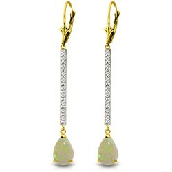 Genuine 1.64 ctw Opal & Diamond Earrings Jewelry 14KT Yellow Gold - REF-61P6H