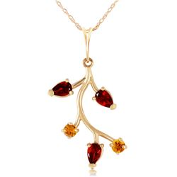 Genuine 0.95 ctw Garnet & Citrine Necklace Jewelry 14KT Yellow Gold - REF-32Y2F