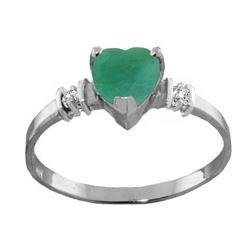 Genuine 1.03 ctw Emerald & Diamond Ring Jewelry 14KT White Gold - REF-37N6R