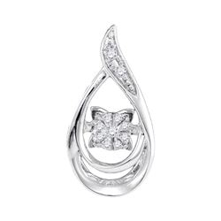 0.06 CTW Diamond Solitaire Teardrop Pendant 10KT White Gold - REF-13N4F