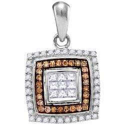 0.33 CTW Cognac-brown Color Diamond Square Pendant 10KT White Gold - REF-26H9M
