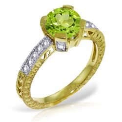 Genuine 1.80 ctw Peridot & Diamond Ring Jewelry 14KT Yellow Gold - REF-98P3H