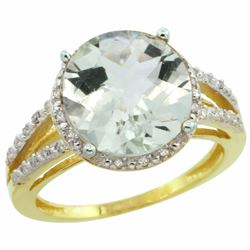 Natural 5.34 ctw Green-amethyst & Diamond Engagement Ring 10K Yellow Gold - REF-35N4G