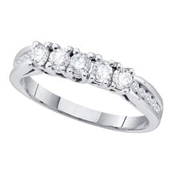 0.59 CTW Diamond 5-stone Bridal Anniversary Ring 14KT White Gold - REF-67Y4X