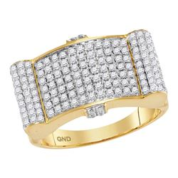 1.5 CTW Mens Diamond Rectangle Domed Cluster Ring 10KT Yellow Gold - REF-134H9M