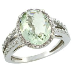 Natural 3.47 ctw Green-amethyst & Diamond Engagement Ring 10K White Gold - REF-34Z7Y