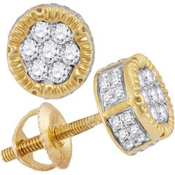 0.50 CTW Mens Diamond 3D Circle Cluster Stud Earrings 10KT Yellow Gold - REF-37X5Y