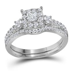 0.88 CTW Princess Diamond Bridal Engagement Ring 14k White Gold - REF-104M9H