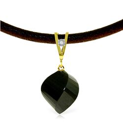 Genuine 15.51 ctw Black Spinel & Diamond Necklace Jewelry 14KT Yellow Gold - REF-39K2V