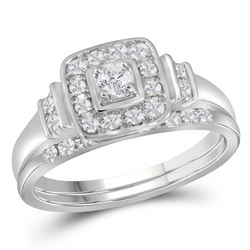 0.30 CTW Diamond Solitaire Square Halo Wedding Bridal Ring 10KT White Gold - REF-59K9W