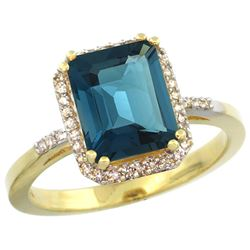 Natural 2.63 ctw London-blue-topaz & Diamond Engagement Ring 14K Yellow Gold - REF-44Y2X