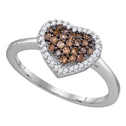 0.33 CTW Cognac-brown Diamond Cluster Heart Love Ring 10KT White Gold - REF-19W4K