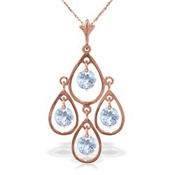 Genuine 1.20 ctw Aquamarine Necklace Jewelry 14KT Rose Gold - REF-34M3T