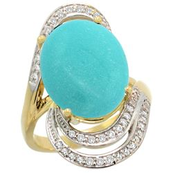 Natural 11.2 ctw turquoise & Diamond Engagement Ring 14K Yellow Gold - REF-124Z5Y