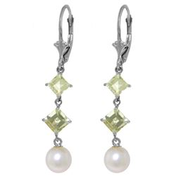 Genuine 6.5 ctw Pearl & Aquamarine Earrings Jewelry 14KT White Gold - REF-45F8Z