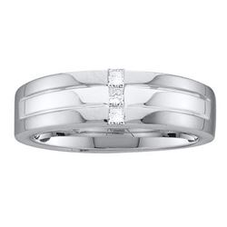 0.15 CTW Mens Princess Channel-set Diamond Single Row Ring 14KT White Gold - REF-67H4M