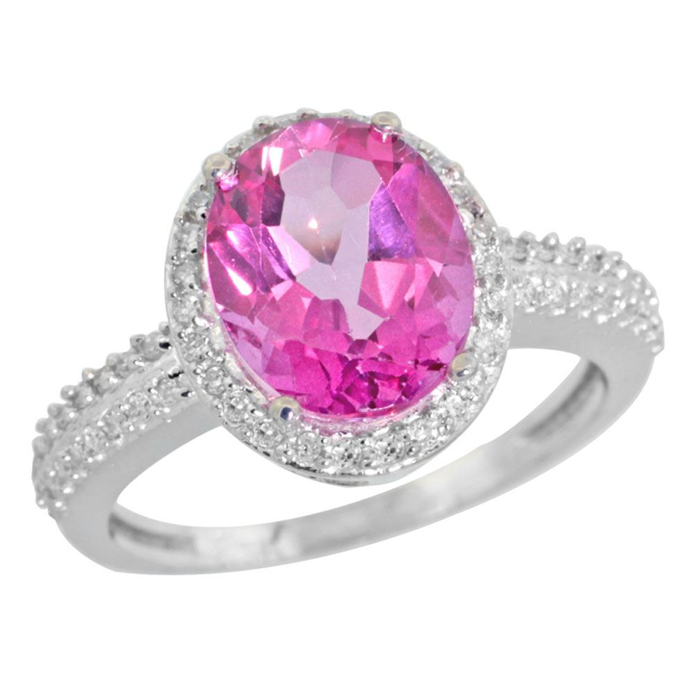 Natural 2.56 ctw Pink-topaz & Diamond Engagement Ring 10K White Gold ...