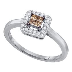 0.25 CTW Princess Cognac-brown Color Diamond Halo Ring 10KT White Gold - REF-19F4N
