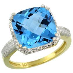 Natural 5.96 ctw Swiss-blue-topaz & Diamond Engagement Ring 14K Yellow Gold - REF-42F3N