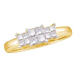 0.50 CTW Princess Diamond 3-stone Bridal Engagement Ring 14KT Yellow Gold - REF-49M5H