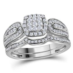 0.45 CTW Diamond Cluster Bridal Engagement Ring 10KT White Gold - REF-44Y9X