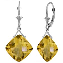 Genuine 17.5 ctw Citrine Earrings Jewelry 14KT White Gold - REF-39P3H