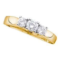 0.98 CTW Diamond 3-stone Bridal Engagement Ring 14KT Yellow Gold - REF-134N9F