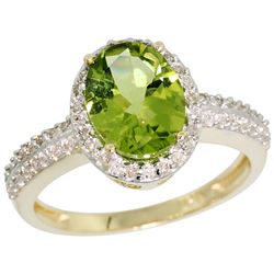 Natural 2.3 ctw Peridot & Diamond Engagement Ring 10K Yellow Gold - REF-32Y5X