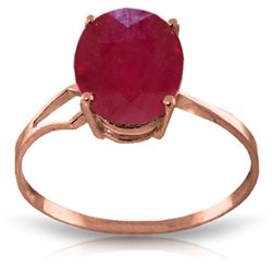 Genuine 3.5 ctw Ruby Ring Jewelry 14KT Rose Gold - REF-39A6K