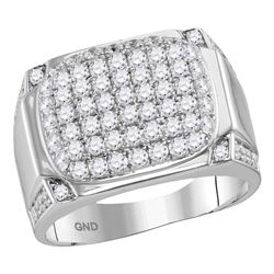 2.1 CTW Mens Diamond Rectangle Cluster Fashion Ring 10KT White Gold - REF-146H2M