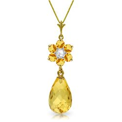 Genuine 2.78 ctw Citrine & Diamond Necklace Jewelry 14KT Yellow Gold - REF-31P2H