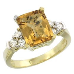 Natural 2.86 ctw whisky-quartz & Diamond Engagement Ring 10K Yellow Gold - REF-52Z7Y