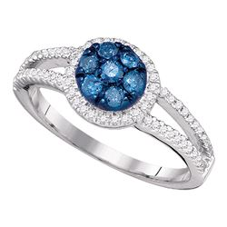 0.45 CTW Blue Color Diamond Cluster Ring 10KT White Gold - REF-37H5M