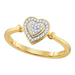 0.10 CTW Diamond Heart Love Cluster Ring 10KT Yellow Gold - REF-12W8K