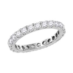 1.5 CTW Diamond Eternity Anniversary Ring 14KT White Gold - REF-112F5N